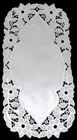 Advanced Embroidery Designs. Rosebud Cutwork Doily. Instructions on machine embroidered cutwork design.