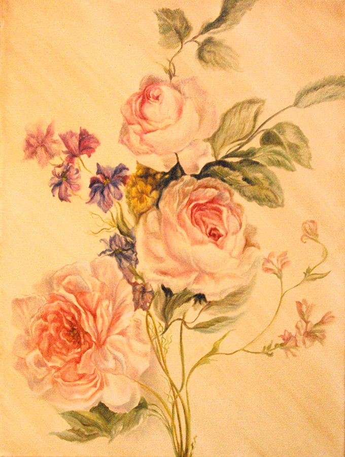 Aleksandra Zając, oil painting, Roses, based on Mary Moser