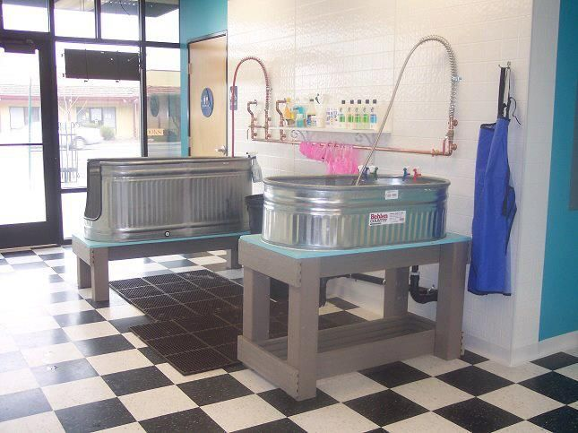 Pet Wash Stations made from Horse Troughs