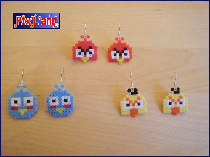 Boucles d'oreille Angry bird unitaire en perle Hama MiNi