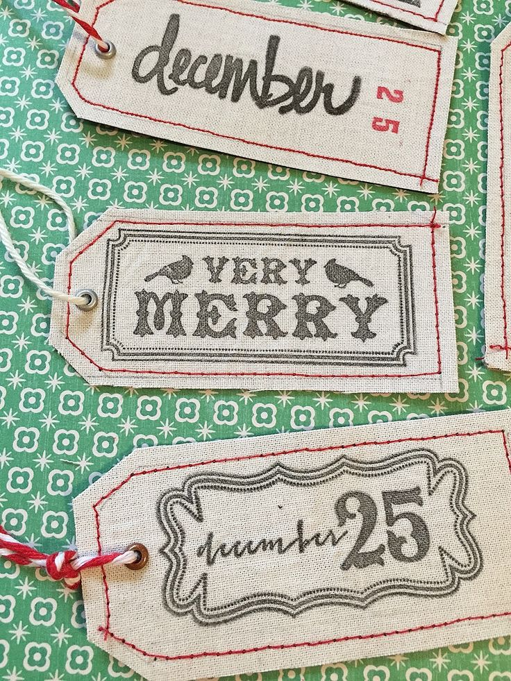 Easy DIY Stamped Fabric Christmas Gift Tags from outofman.com