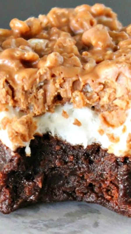 Marshmallow Crunch Brownies  •1 box brownie mix (18.9 ounce) made according to package directions* •3 cups miniature marshmallows •2 cups crisp rice cereal •3/4 cup milk chocolate chips •3/4 cup butterscotch chips •1/4 cup peanut butter...Click pic for directions.