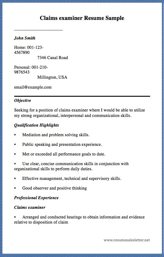 Accounting Internship Resume Objective Claims Examiner Resume Sample John Smith Home 0011234567890 .