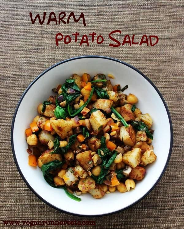 Warm Potato Salad with Spinach and Chickpeas (cooked in a skillet)