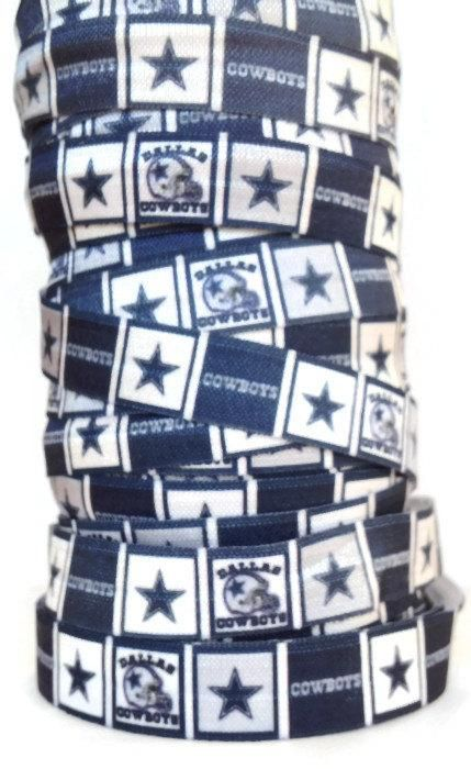 "5/8"" FOE Dallas Cowboys Fold Over Elastic Ribbon, Cowboys Ribbon, Cowboys FOE, Sports Hair Tie Ribbon, Ribbon By The Yard by KC Elastic Ties"