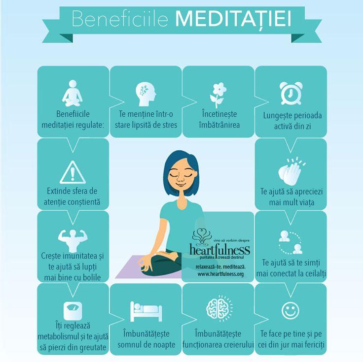 Benefiicile meditației regulate:  ❤ Te menține într-o stare lipsită de stres ❤ Încetinește îmbătrânirea ❤ Lungește perioada activă din zi ❤ Te ajută să apreciezi mai mult viața ❤ Te ajută să te simți mai conectat la ceilalți ❤ Te face pe tine și pe cei din jur mai fericiți ❤ Îmbunătățește funcționarea creierului ❤ Îmbunătățește somnul de noapte ❤ Îți reglează metabolismul și te ajută să pierzi din greutate ❤ Crește imunitatea și te ajută să lupți mai bine cu bolile ❤ Extinde sfera de atenție