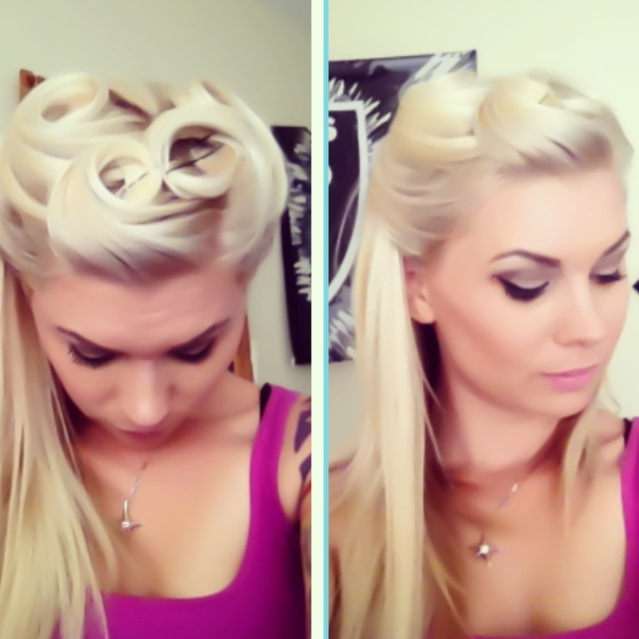 Pinup rockabilly hair And makeup. Victory rolls