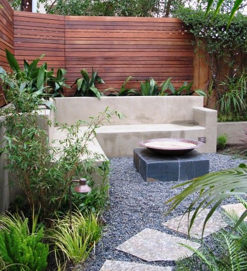 Built in concrete bench with planters