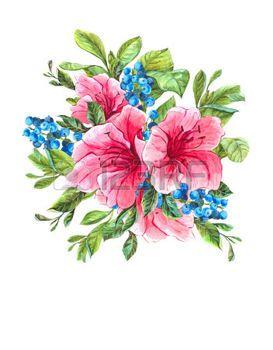 Aquarell Exotic Vintage-Karte mit blauen Beeren, Rosa tropische Blumen und Bl�tter, Aquarell Illustration. photo