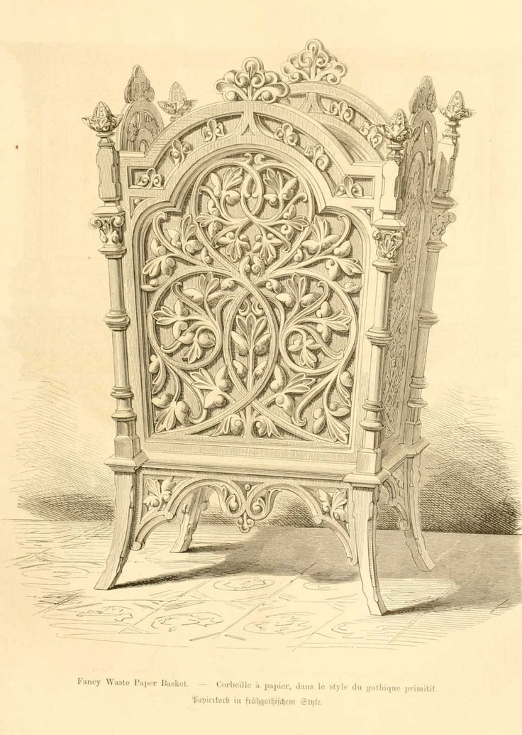 img dessins meubles mobilier corbeille a papier style gothique book no 2. Black Bedroom Furniture Sets. Home Design Ideas