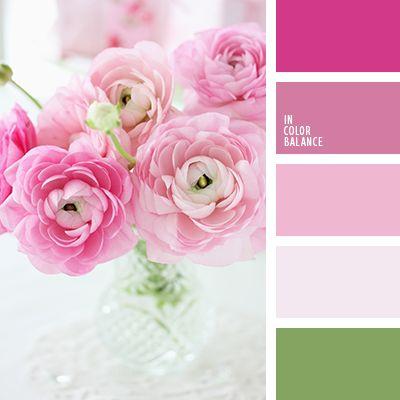 carmesí vivo, color lila, color rosa profundo, color tallo verde, color verde hierba, combinación de colores, elección del color, frambuesa, lila polvoriento, rosa pastel, rosado claro, rosado oscuro, rosado pálido, tonos rosados, verde.
