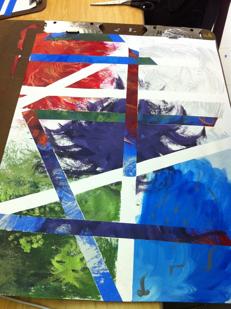 Abstract painting. 18 x 24.  Student break up the space with painters tape (cheaper the better, the good stuff pulls the paper)  then paint organic images on top.  then they peel away the paint and leave some white channels or fill in the channels with the painted tape.