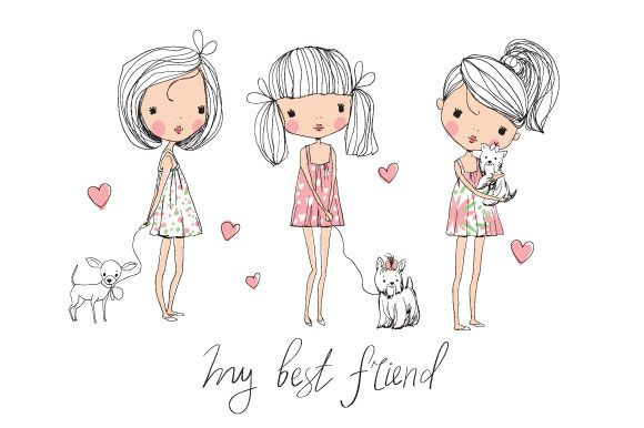 Check out cute girls with dogs by NatalyS on Creative Market. $7.00 for Adobe Illustrator.