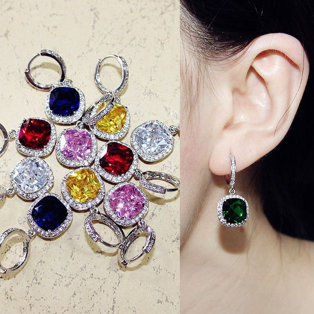 Sparkling Fashion Square Drop Earrings CZ diamond Dangle Earrings Emerald Sapphire Blue Red Pink Yellow stone For Women Jewelry