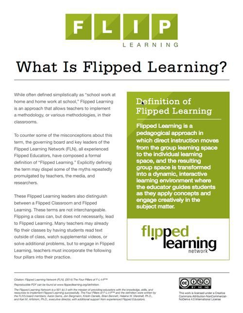 Definition of Flipped Learning (as opposed to Flipped Classrooms). A popular techique for blending online and F2F