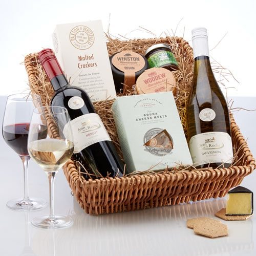 £44.80. Wine & Cheese Hamper. Two supple, fruity and elegant French wines with local cheeses and treats to enjoy.