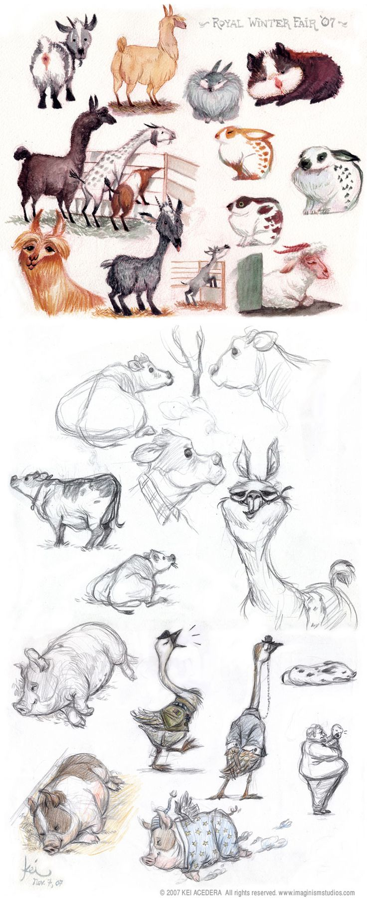 Farm Animals (gouache on watecolor paper, 8 1/2 x 11 inches; pencils on paper)  by Kei Acedera - Imaginism Studios Blog: November 2007