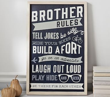 Brother Rules Sentiment Art // Little siblings can celebrate brotherhood with art that highlights lifelong adventures and enduring friendships.: