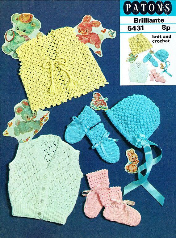 PDF Vintage Baby Girl Knitting Pattern & Crochet Pattern Lacy
