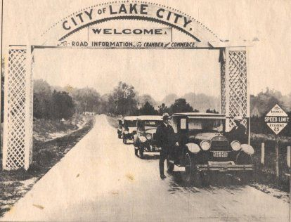 Entrance to downtown coming from the north near Five Points, about 1925.