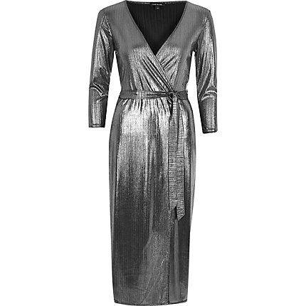 Silver plunge wrap dress €20.00