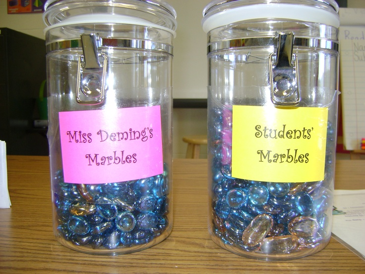 Classroom Marble Jar for Daily Good Behavior with the entire class will get a marble in Class Jar when filled will have a Pizza & Ice Cream Party :)