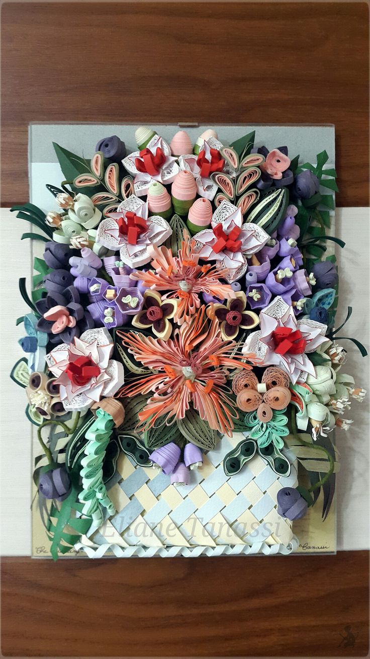 Woven Paper Basket with Quilled Flowers and Lilies ~ May 2017, handmade by Eliane Tanassi ♧ The Quilling Fairies ♧, first quilling artists in Lebanon!