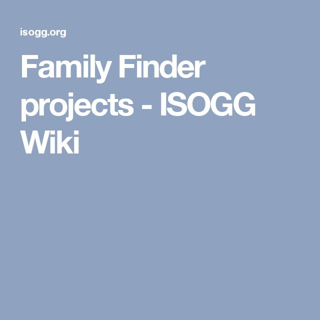 Family Finder projects - ISOGG Wiki