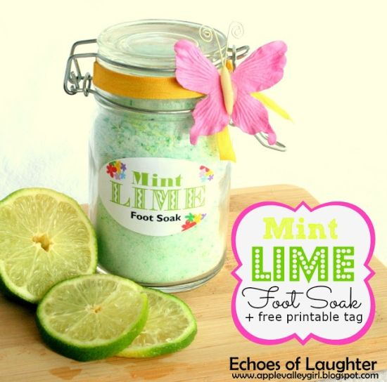 Mint Lime Foot Soak - This site has ALL KINDS of DIY tutorials for spa treatments! Most using ingredients already at home!