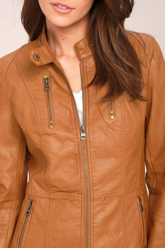 Women /& Girls 100/% Genuine Lambskin Leather Biker Jacket with hooded Slim Fit