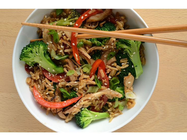Dinner for One: Adobo Chicken Fried Rice   This recipe, made just forone serving, is great for using up the last of your rotisserie chicken. Using chilled rice, yet another leftover, will result in consistently amazing fried rice over and over again.   CookingLight.com