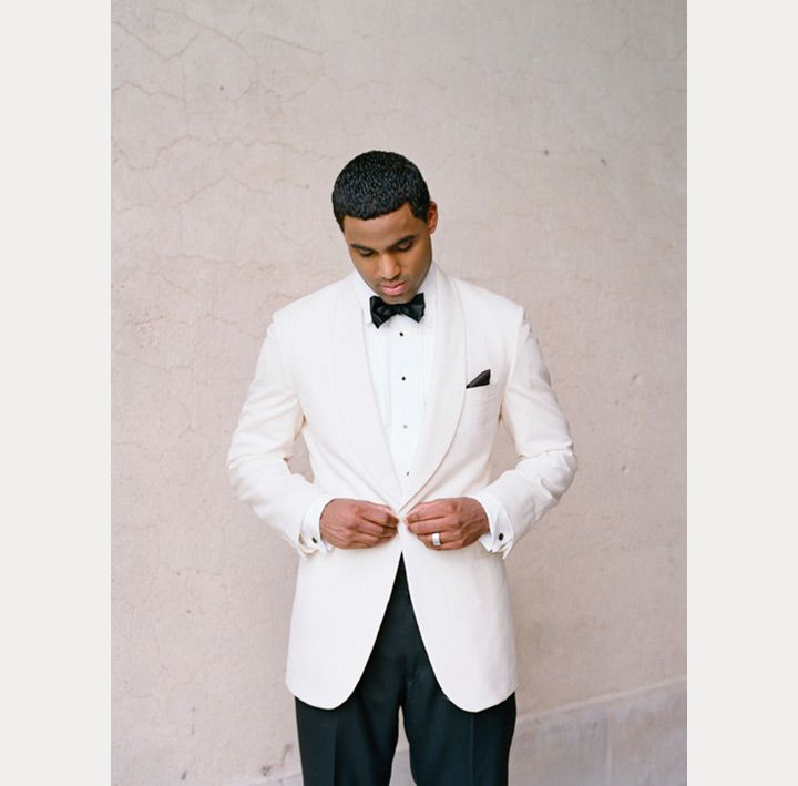 handsome groom in a white tux jacket and black pants ~  we ❤ this! moncheribridals.com