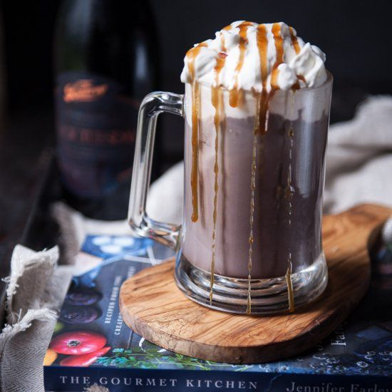 Spiked Hot Chocolate with Salted Caramel Whipped Cream. Boozy, warm and delicious. With the best whipped cream ever.