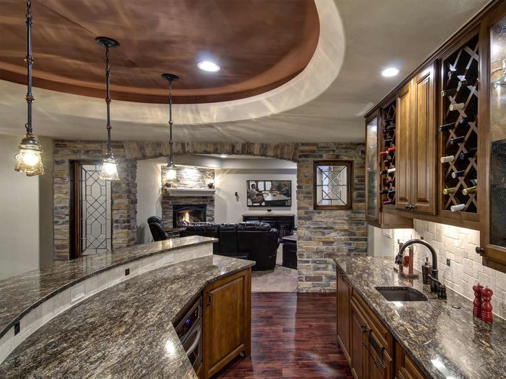 Basement Bar with Marble Countertop