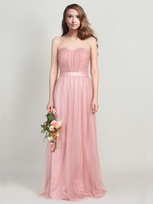 Strapless Sweetheart Pastel Dusty Pink Tulle Bridesmaids Dress