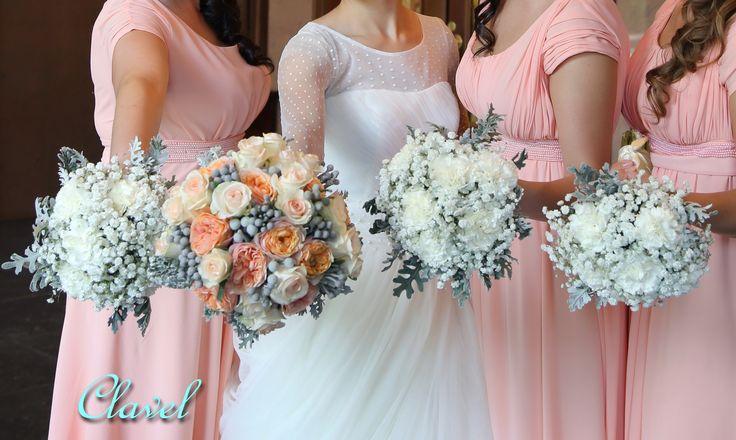 bridal bouquet, bridesmaid, dianthus, David Austin