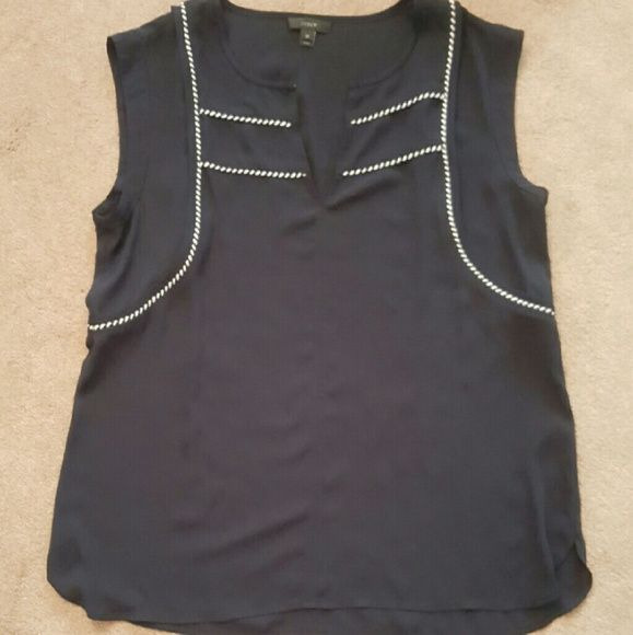 """New J. Crew Nautical Black Cami Top New without tags J. Crew Nautical  Black sleeveless Top Cami. Black & white rope detail... SZ 10. Under armpit to under armpit 19"""" , length from shoulder to end of top 25"""". Style # B6171.. I HAVE THE IVORY TOP IDENTICAL TO THIS ONE LISTED J. Crew Tops"""