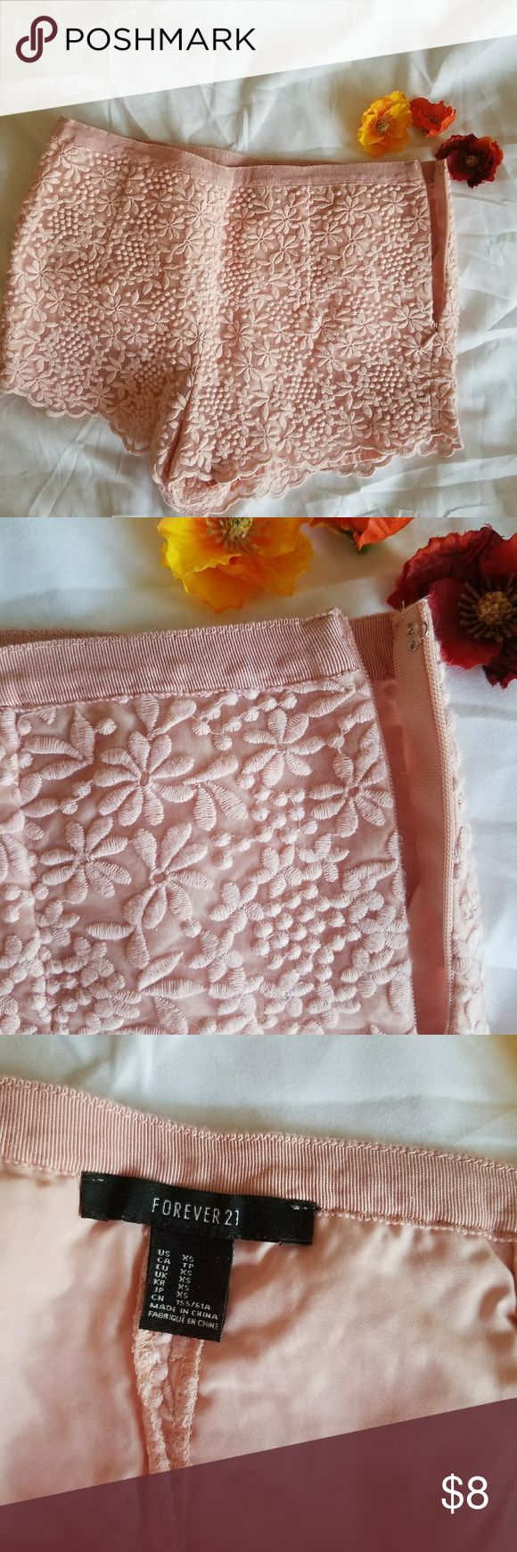 Pink lace shorts Gently used, very good condition, no stains , no odors. Forever 21 Shorts
