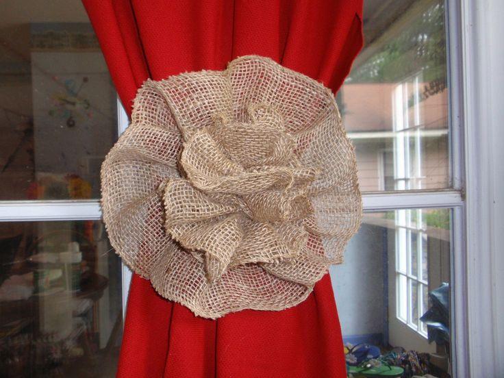 Burlap Flower Curtain Tie Back Pew Bow Wedding Decoration Home Decor by superbuy4j on Etsy
