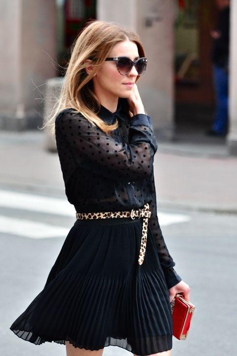 Black swiss dot pleated dress, leopard belt, cat eye sunglasses