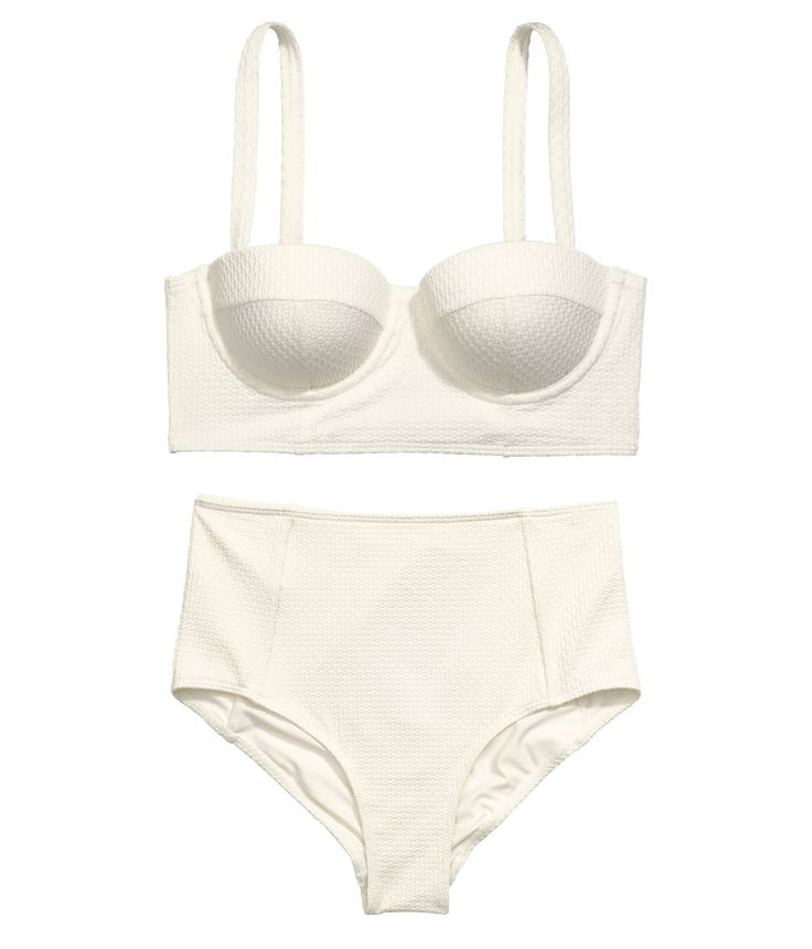 Balconette top with padded underwire cups that lift and shape. Brief-style bottoms with high waist. | H&M Swim