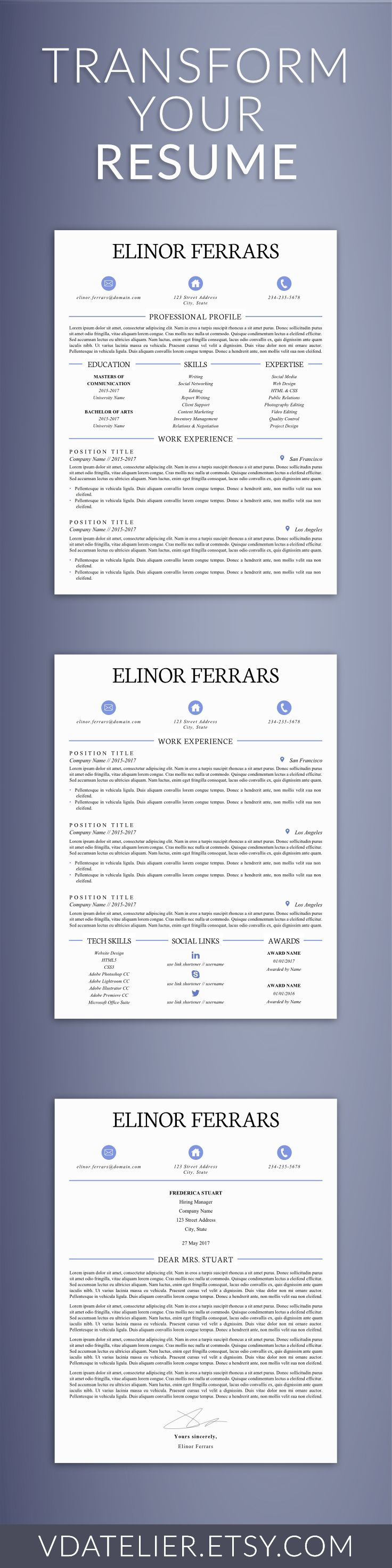 Elegant Resume Template for Word | Creative and Modern Resume | Curriculum Vita | CV Template | Cover Letter & References | US Letter, A4