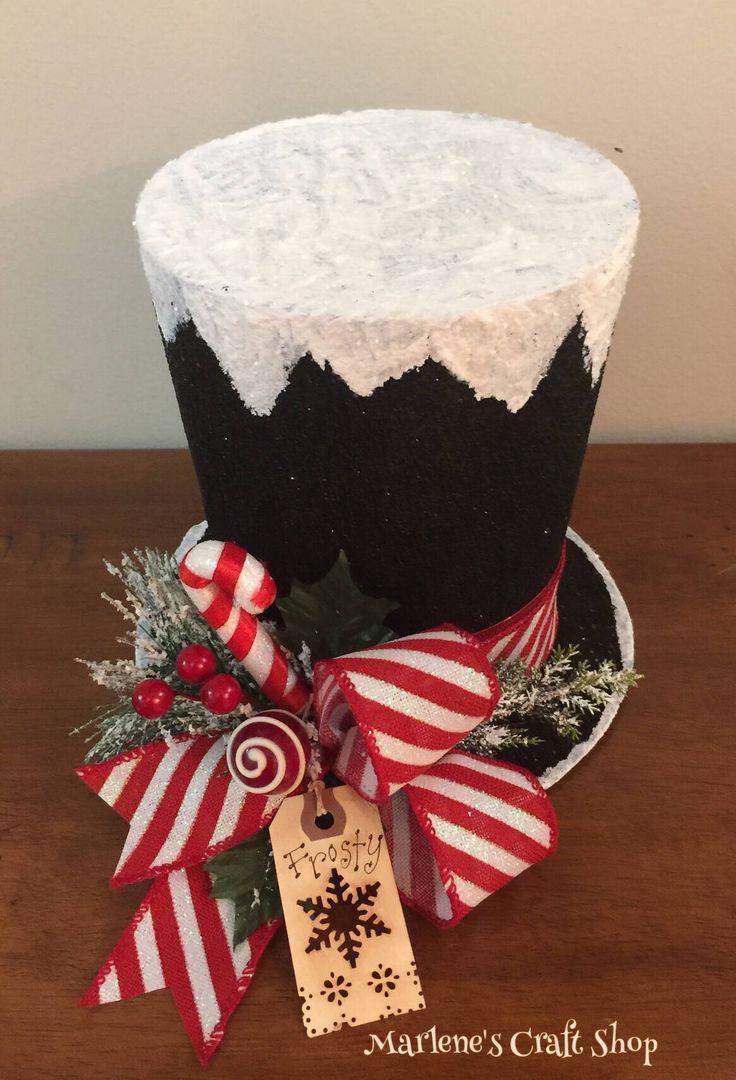Snowman Hat, Snowman decoration, Snowman hat Centerpiece, Christmas Centerpiece, Candyland decoration, Snowman hat decor, Frosty Hat decor by MarlenesCraftShop on Etsy