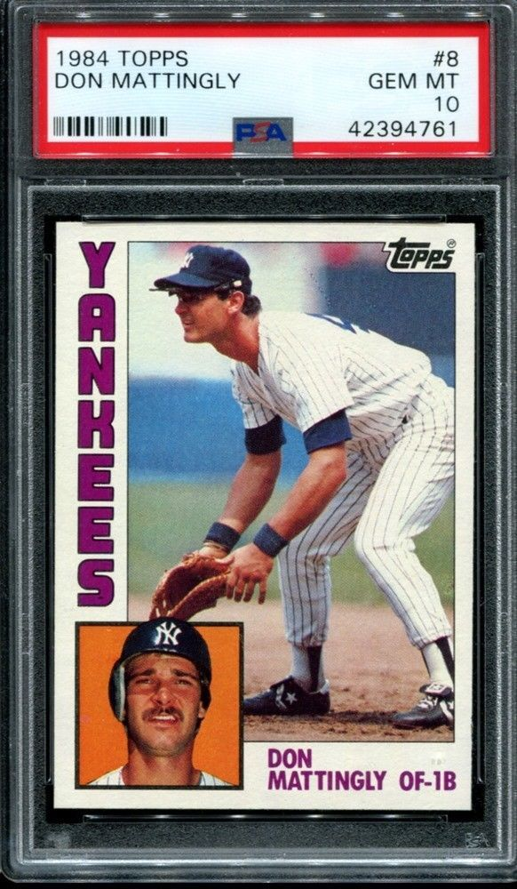 Don Mattingly 1984 Topps 8 Rookie Rc New York Yankees Hof Newholder Psa 10 Psa10 Sportscards Collect In 2020 With Images Don Mattingly Baseball Cards Baseball