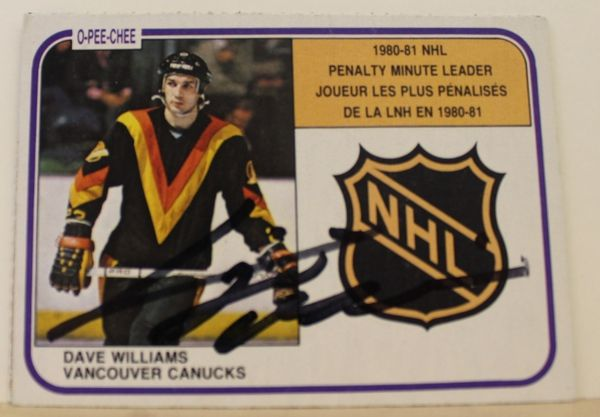 Dave Williams Vancouver Canucks Autographed 1981-92 O-Pee-Chee Card