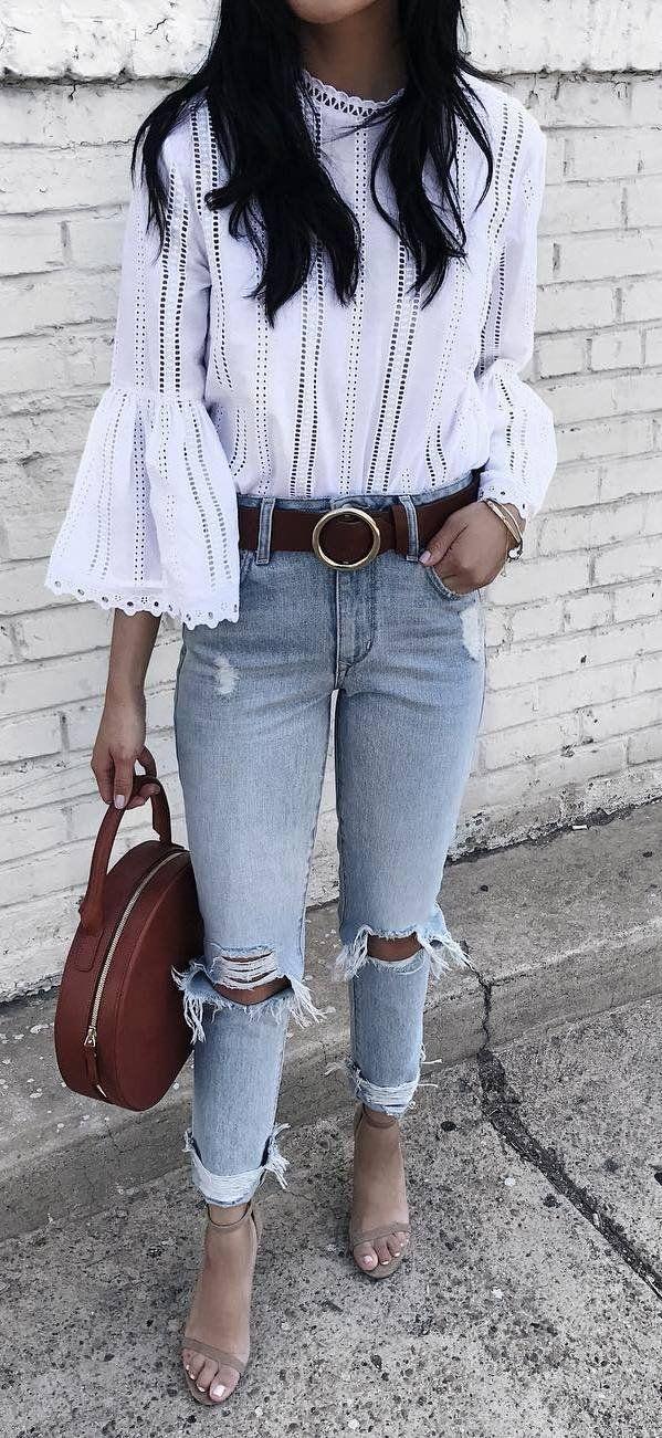 top + ripped jeans + bag + heels