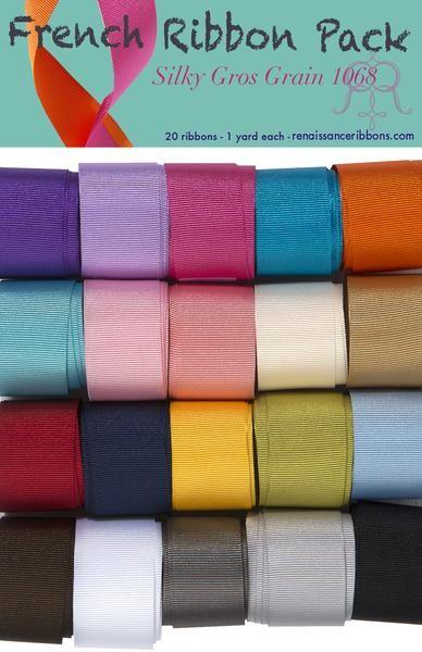French Ribbon Sampler Pack - Silky Gros Grain- 20 ribbons 1 yd each