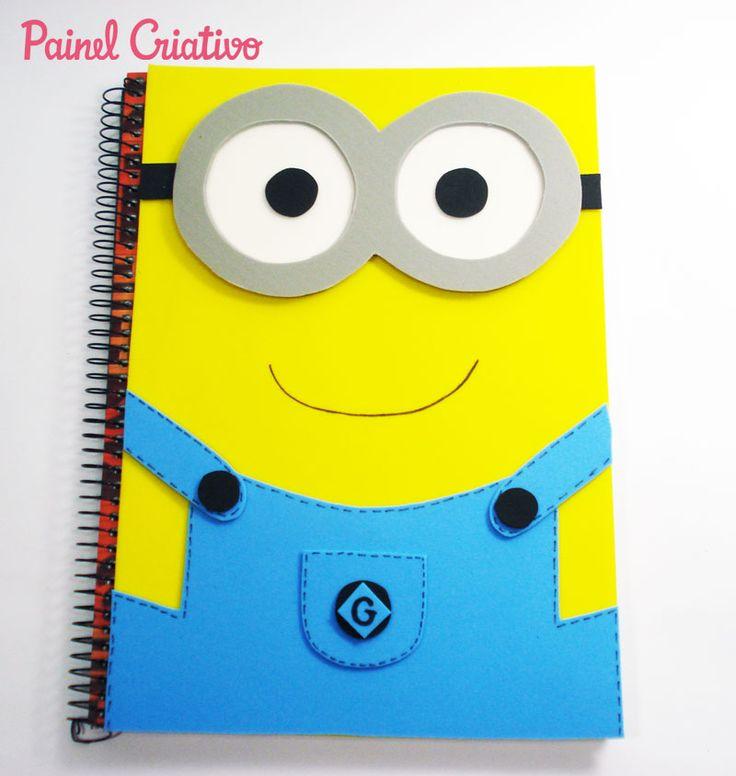 como fazer capa caderno eva minions meu malvado favorito meninos escola (2)