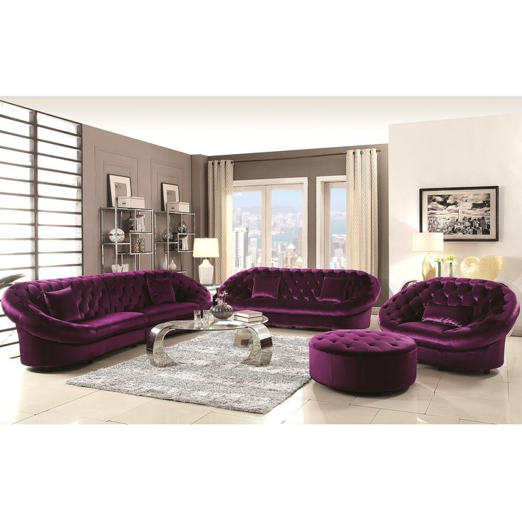 Features a solid pine wood construction and a sinuous spring base for comfort and durability, foam cushion seating upholstered in a fine purple velvet fabric with deep tufting all around arms and back for an elegant transitional look.