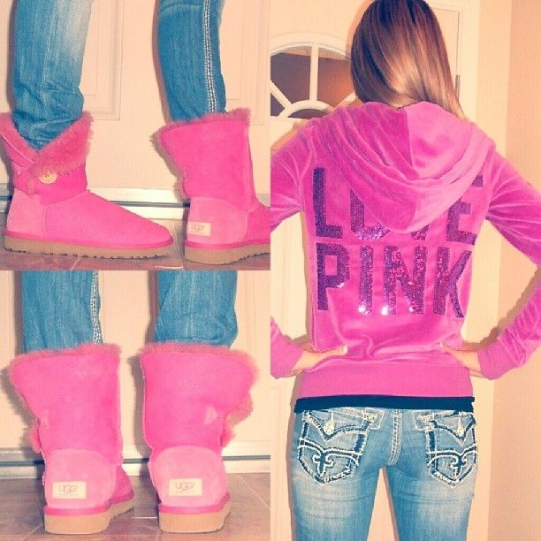 VS PINK zip-up hoodie(love), Rock Revival jeans & pink UGG boots(love). <3